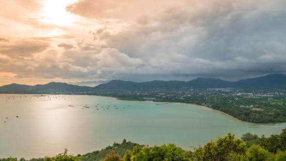 Thumbnail for High Angle View Beautiful  Landscape of Ao Chalong Bay and City Sea Side in Phuket Province, Thailan