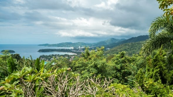 Cover Image for Rainy Landscape  From View Point, Karon Beach, Kata Beach, Patong Beach in Phuket Island, Thailand