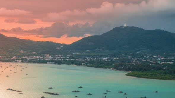 Thumbnail for Sunset Landscape of Ao Chalong Bay and City Sea Side in Phuket Province, Thailand
