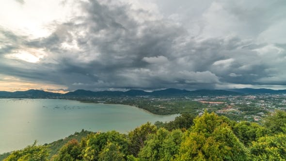 Cover Image for Clouds  Landscape View at Pier at Chalong Bay, Phuket, Thailand