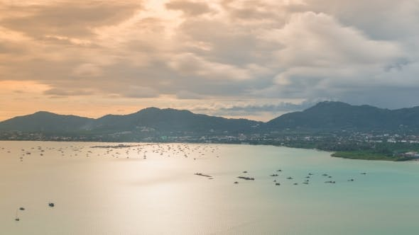 Cover Image for View Beautiful  Landscape of Ao Chalong Bay and City Sea Side in Phuket Province, Thailand