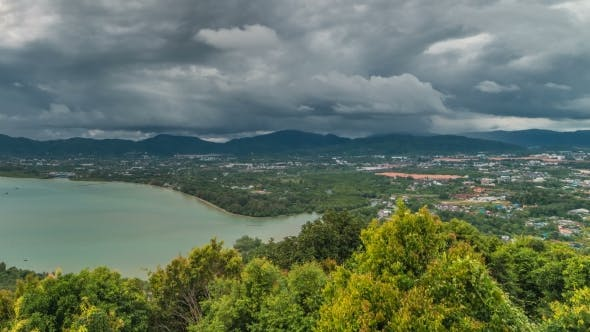 Cover Image for Beautiful  View From Khao-Khad Views Tower, View Such As Chalong Bay and Phuket Town in Thailand