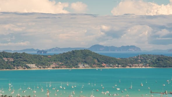 Thumbnail for View Landscape of Ao Chalong Bay and City Sea Side in Phuket Province, Thailand