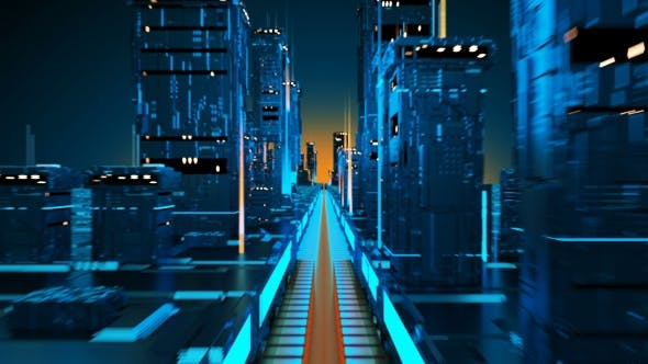 Technology City of the Future Virtual Metropolis Aerial Flight in Cyber Space