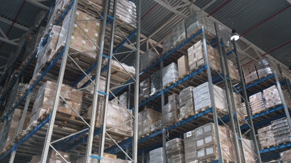 Thumbnail for Camera Moves Up on Shelves of Cardboard Boxes Inside a Storage Warehouse