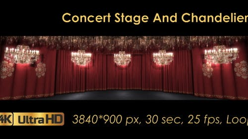 Concert Stage And Chandeliers