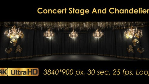 Black Concert Stage And Chandeliers