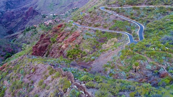 Thumbnail for Aerial View Winding Road Near Masca Gorge