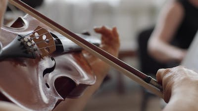 Human with Bow Plays on Wooden Violin  at Symphony Concert