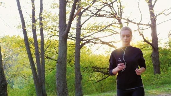 Thumbnail for Steadicam  Shot: Young Woman Running in the Forest. Healthy Living and Sport
