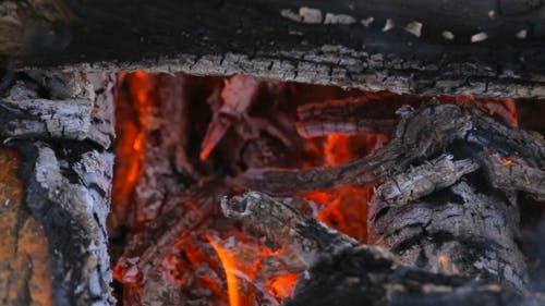 Hot Red Charcoal Fire