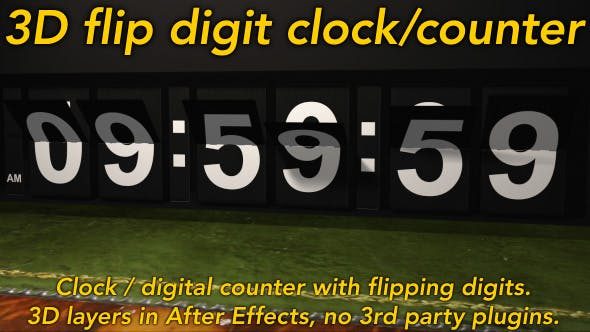 Thumbnail for Flipping Clock - 3D counter with split flap / flip digit numbers