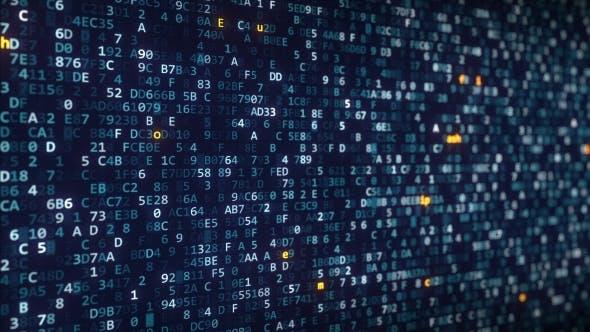 Thumbnail for Verschiedene Kryptowährungsnamen Beschriftungen, die unter wechselnden Hexadezimalsymbolen auf einem Computer angezeigt werden