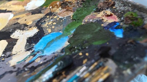 Artist Prepares Brushes and Palette before Creating Painting