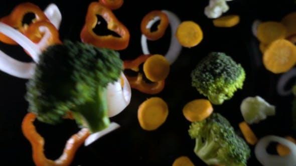 Thumbnail for Flying Vegetables Isoleted on Black Background.