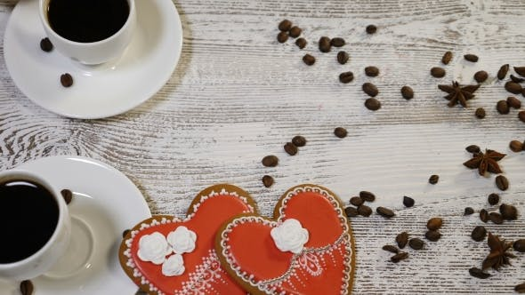 Couple Relations St Valentine Day Concept Cups of Coffee Held By Female and Male