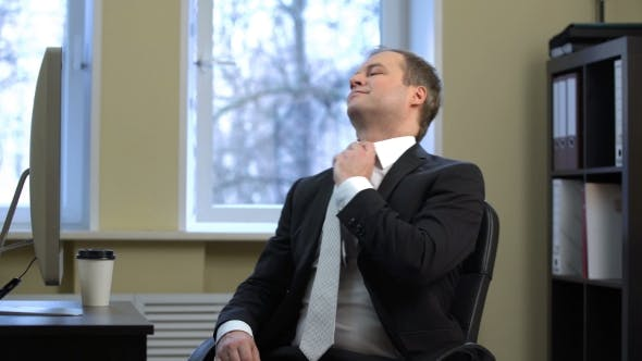 Thumbnail for Businessman Shutdown Your Computer and Uses a Smart Watch, Spinning in a Chair