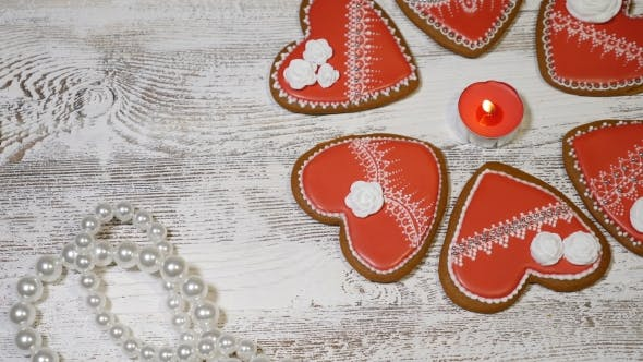 Couple Relations Concept St Valentine Day Background. Heart Shaped Ginger Biscuits,burning Tea