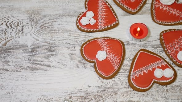 Couple Relations Concept St Valentine Day Background Heart Shaped Ginger Biscuits,burning Tea
