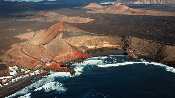 Flying Over Volcanic Lake El Golfo, Lanzarote, Canary Islands, Spain