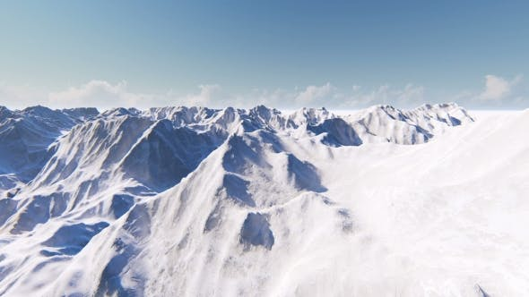 Flying Over Beautiful Snow-covered Mountains
