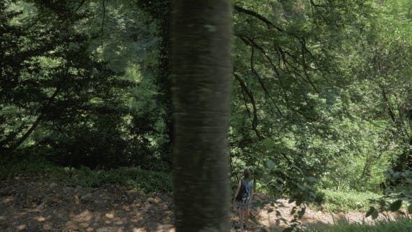 Thumbnail for Young Girl Looking at Big Tree in Tropical Forest. Georgia