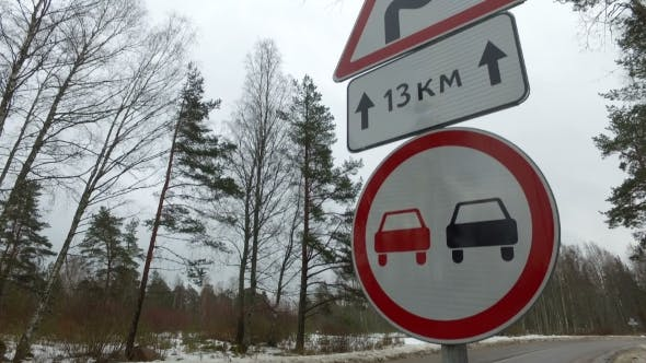 Thumbnail for Road Warning Sign Overtaking Is Forbidden and Dangerous Turns