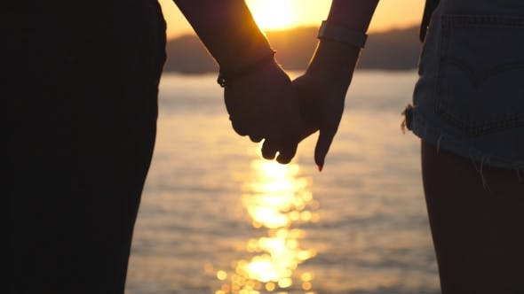 Thumbnail for Silhouette of Male and Female Hands Holding Each Other at Sunset Against an Sea Background Young