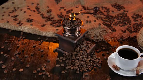 Thumbnail for White Cup with Black Coffee on a Saucer with Cinnamon