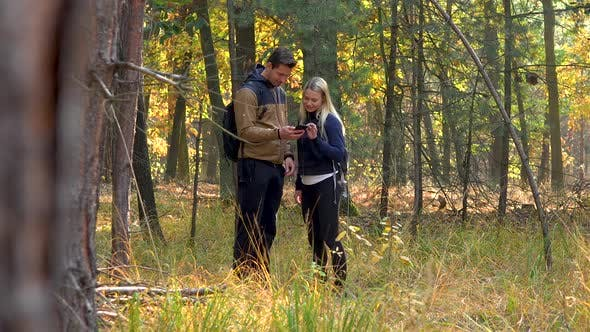 Thumbnail for A Hiking Couple Stands in the Middle of a Meadow in a Forest and Looks at a Smartphone