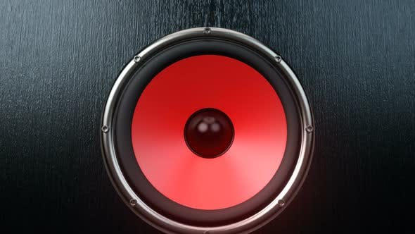 Cover Image for Dozen of Audio Speakers with Red Membrane Playing Synchronously Modern Music