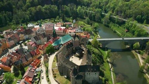 Turn Around Loket Castle and Small Czech Town, Near Karlovy Vary, Czech Republic.