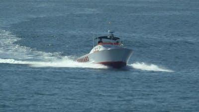 A lifeguard boat.