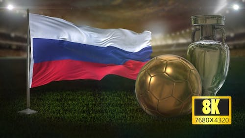 8K Russia Flag with Football And Cup Background Loop
