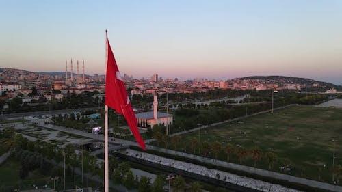 Aerial View Turkey Turkish Flag