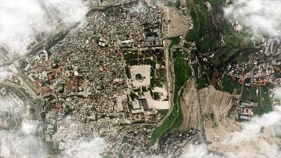 Zooming down from earth orbit to the Dome of the Rock in Jerusalem