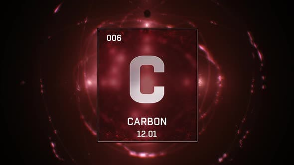 Carbon As Element 6 Of The Periodic Table On Red Background
