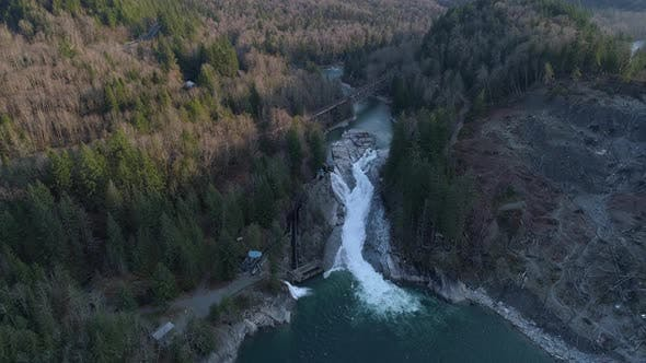 Thumbnail for Sunset Falls Skykomish River Washington Aerial Overview Falls Landslide