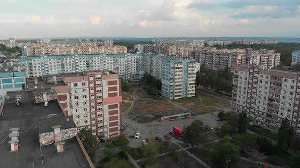 Thumbnail for Aerial Panorama on Dwelling Blocks with Multistory Colorful Buildings at Nature