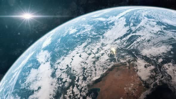 Thumbnail for Rocket or Missile Launching From the Surface of Earth as Seen From Space