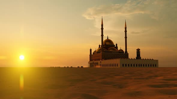 Thumbnail for Grand Mosque and Convoy Passing by in Sunset in Desert