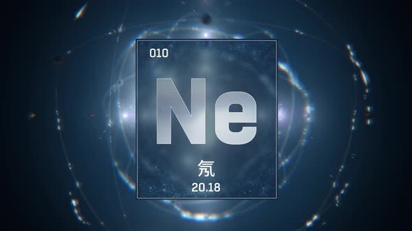 Neon as Element 10 of the Periodic Table on Blue Background in Chinese Language