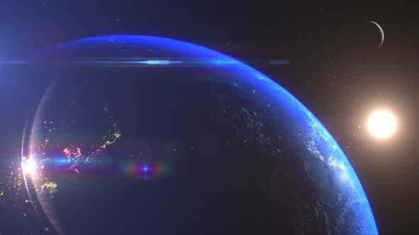 Earth And Moon Sunrise Japan Korea And East China
