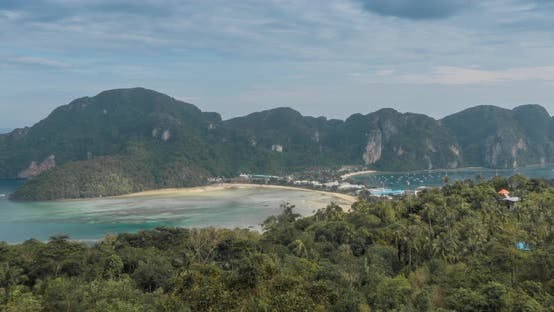 Thumbnail for Time Lapse of Day Clouds Over the Wonderful Bay of Phi Phi Island Landscape with Boats