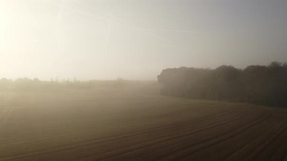 Thumbnail for Drone View Of Morning Fog Over Fields