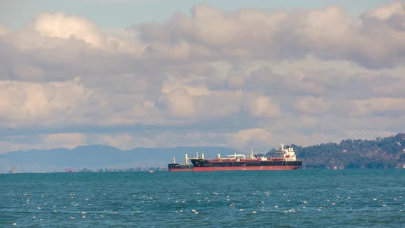 Seascape with cargo container industrial ship anchored waiting for entering Batumi port