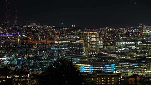 Thumbnail for Neon City Lights Cityscape Timelapse Background Downtown Seattle Viewpoint