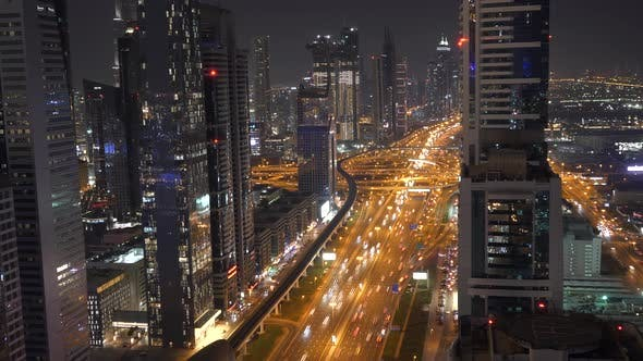 Thumbnail for Bright Illuminated Radiant Buildings and City Roads at Night
