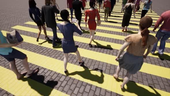 Yellow Zebra Pedestrian Modern Closeup Crowd of People