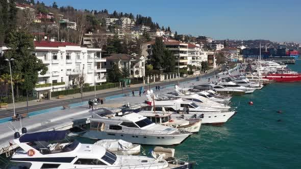 Thumbnail for Istanbul Bebek Bosphorus Marine And Boats Aerial View